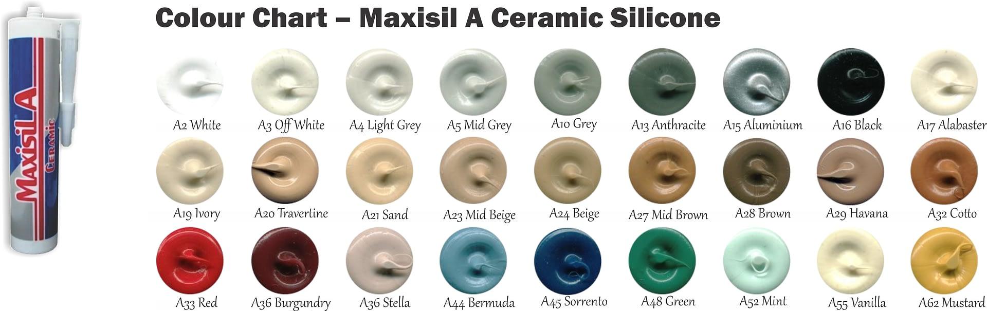 Colour Chart – Maxisil A Ceramic Silicone