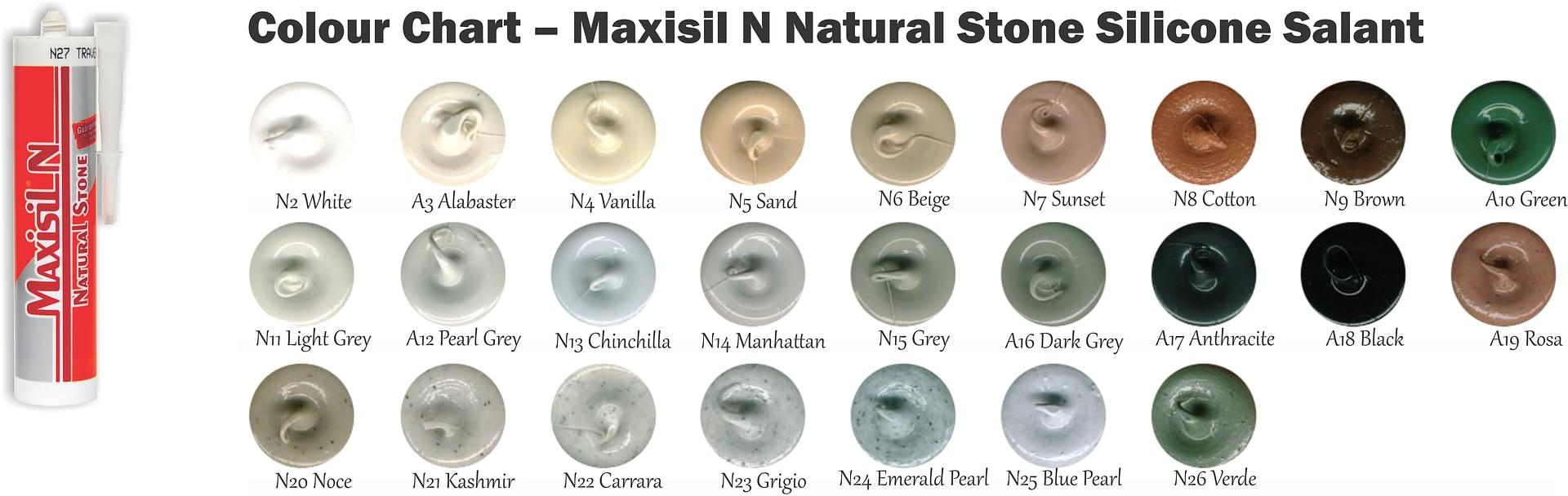 Colour Chart – Maxisil N Natural Stone Silicone Salant